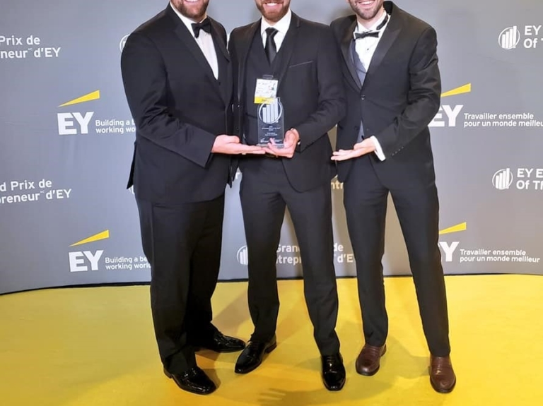 Peace by Chocolate founder Tareq Hadhad accepting EY Entrepreneur Atlantic regional finalist's prize, 2018